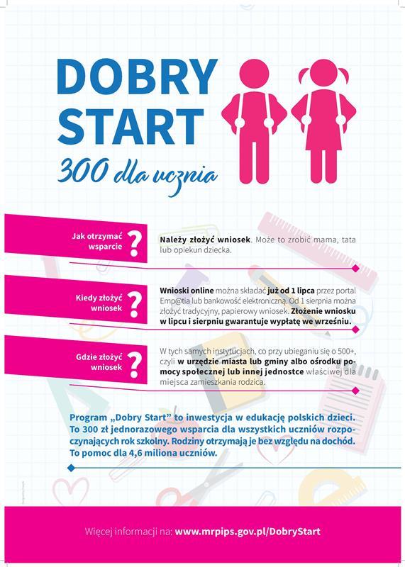 """""""Dobry start""""- 300 dla ucznia."""